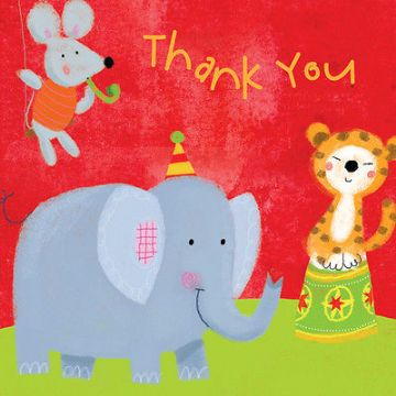 "BLANK THANK YOU NOTECARDS [5 PACK] ""ANIMALS DESIGN"" SIZE 4.25 X 4.25 INCH N396"